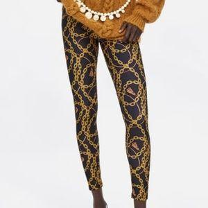 Zara Chain Link Tassel Leggings Gold Black Medium